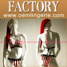 las mujeres de la nueva llegada de la ropa interior estriado navidad