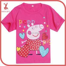 KT60 2015 Summer Children's Pink Pig T-shirt boys and girls casual short-sleeved 100% Cotton T-shirt