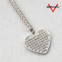 MINGFU stainless steel custom love rhinestone necklace