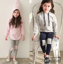 Spring Autumn Kids Clothes Long Sleeve Pullover Striped Suit Casual Boys Clothing Set Suit For Baby Girls 2 pcs Chilrens Sets
