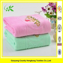 Towels factory pink terry own embroidered design on towel wholesale
