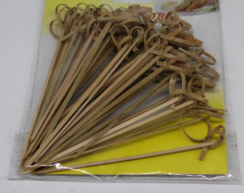 Природные плоский бамбука фруктовый шашлычок для производства продуктов питания, салат, мясо с гладкой поверхности цвета