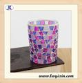 Roxo e rosa de vidro lembranças/mosaico de vidro castiçal/reciclado de vidro frascos da vela