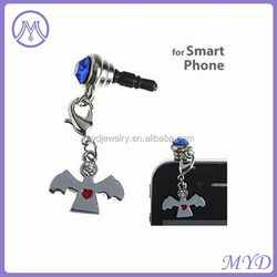 heart angle wing charms mobile phone anti dust plug for Iphone