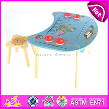 2015 wooden table and chair for kids,study wooden table and chair set for children,hot sale wooden table and chairs toy W08G127