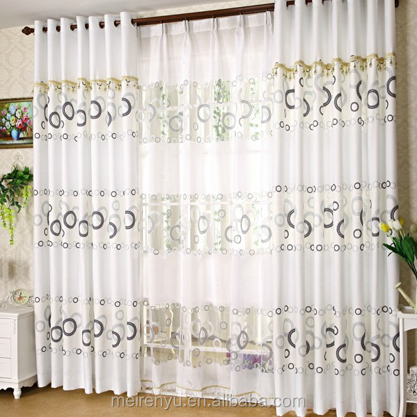 The latest living room curtain plain white simple printed window curtain buy window curtain - Latest curtain designs for windows ...