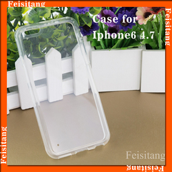 2 in 1 PC transparent phone case TPU soft bumper mobile phone protective case for iphone6 4.7inch