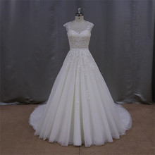 New Arrival brown sleeveless chaple train wedding gown 2012