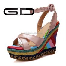 new 2015 platform high heeled women sandals wedges summer single shoes woman open toe sandal slippers