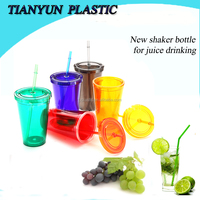 2015 new products disposable plastic juice and coffee drinking water bottle with straw for promotion