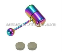 2014 fashion Rainbow Capsule Vibrating Tongue Barbells Rings Body Piercing
