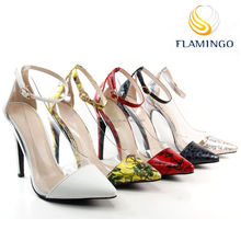FLAMINGO 2015 LATEST ODM OEM new fashion plastic pointed toes high heel ladies pump shoes ankle strap shoes