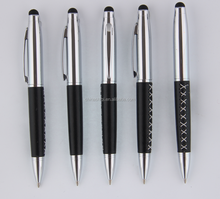 touch screen stainless steel leather metal pen