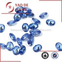 Fabricante de la máquina de corte oval forma azul claro pulido de piedras preciosas zirconia cúbico accesorios de la joyería