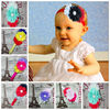 Factory Direct Infant Frayed Fabric Flowers Headband With Sparkle Rhinestoned Centered
