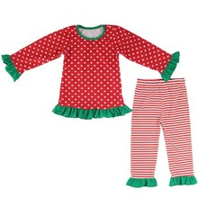 2015 new style ruffle dot top and strip ruffle pants for kids