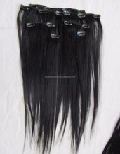 Best selling virgin human hair extension silky straight 7 pieces/set clip in hair extension