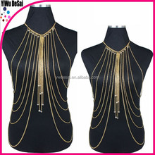 Europe and the United States foreign trade exaggerated multi-layer crystal body chain dress