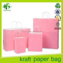 Pink color foldable plain kraft paper shopping bag