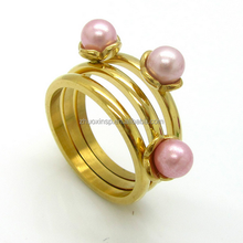 Stainless Steel Three Pearl Ring Design For young Girls Jewelry