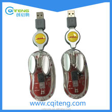 Retractable Cable Silver Crystal Wired Mouse For Gift