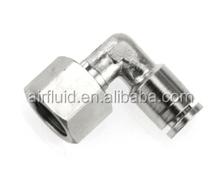 Air-Fluid Metal Push in Fittings 90 Degree Swivel Elbow Female Thread