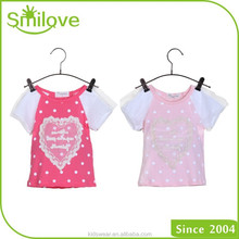 China kids clothing company 2015 lovely heart lace pattern girls dry fit t-shirt