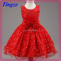 New model vintage style boutique red color princess party dress fancy frocks for baby girls TR-WS47