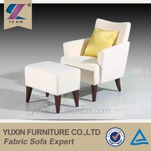 2015 white classic wood sofa chair with ottoman
