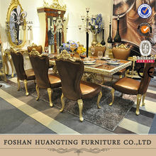 European baroque Italian design elegant antique gold solid wood jewelry royal leather dining room long table and chairs