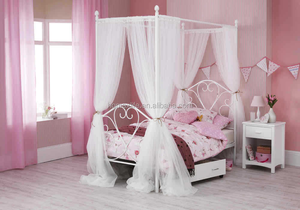 Canopy cama de metal para las niñas venta al por mayor muebles de ...