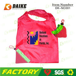Foldable Cheap strawberry nylon foldable reusable shopping bag DK-NC001