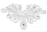 Wholesale Colorful Iron on rhinestone bridal applique S10789F01