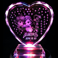 Crystal heart shape gift with LED base for christmas gift