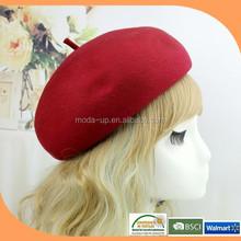 Francês beret, Boina vermelha lã, Cap boina