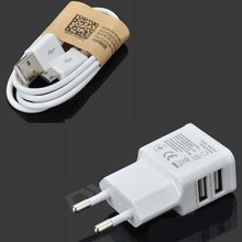 5v 2A 2-in-1 Dual USB AC Power Charger Adapter with Micro USB Cable for Samsung galaxy Note 3 4 CE ROHS