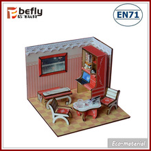 Kids educational puzzle game toy mini wooden dolls house