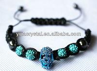 Original brand crystal rhinestone pave beads bracelet skull beads with clay beadings bracelet paypal accept