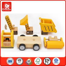 2015 hot product DIY learning toys wood and rubber yellow color construction vehiclesset 5 pcs wooden toy truck confirm to EN71
