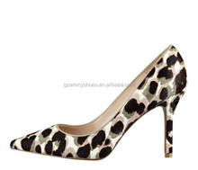 New model women high heel fur leopard dress shoe party shoes for ladies 2015