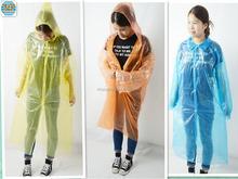 Disposable plastic raincoats orange/plastic raincoat women/mens plastic raincoat
