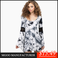 MGOO High Quality 2015 Summer Style Dress Printed For Femininas Trumpet Long Sleeves Scoop A line Blue Tie Dye Change Color Vest