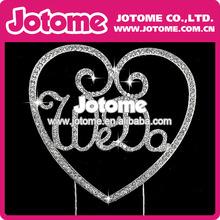 la moda de cristal de diamante deimitación corazón adorno de torta para la decoración