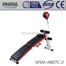 exercise curved sit up bench with Punching Speedball