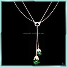 Promotional 925 silver sterling 3D Floating opal Long Party Necklace
