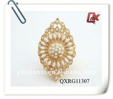 Latest gold rings design for women with acrylic(QXRG11307)