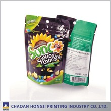 Plastic laminated food packaging stand up zipper top pouch bag for snack