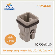 HD-007-MC Industrial Surface Mounting Silver Plated Surface Crimp Terminal Current 10A Voltage 250V 7 Pin Male Connector