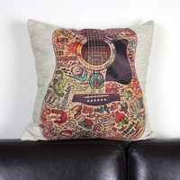 Hot Sale Creative Colored Guitar Pattern Decorative Pillow Case Home Sofa Throw Covers Sofa Cushion Cover Replacement