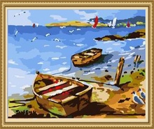 40*50cm sea and boat painting, sea landscape canvas painting